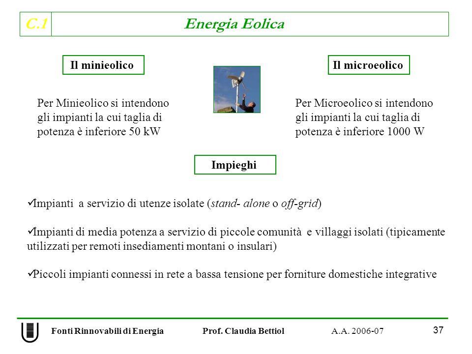 C.1 Energia Eolica 37 Fonti Rinnovabili di Energia Prof.