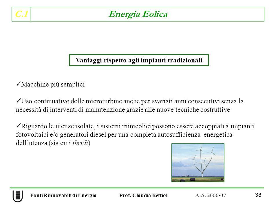 C.1 Energia Eolica 38 Fonti Rinnovabili di Energia Prof.
