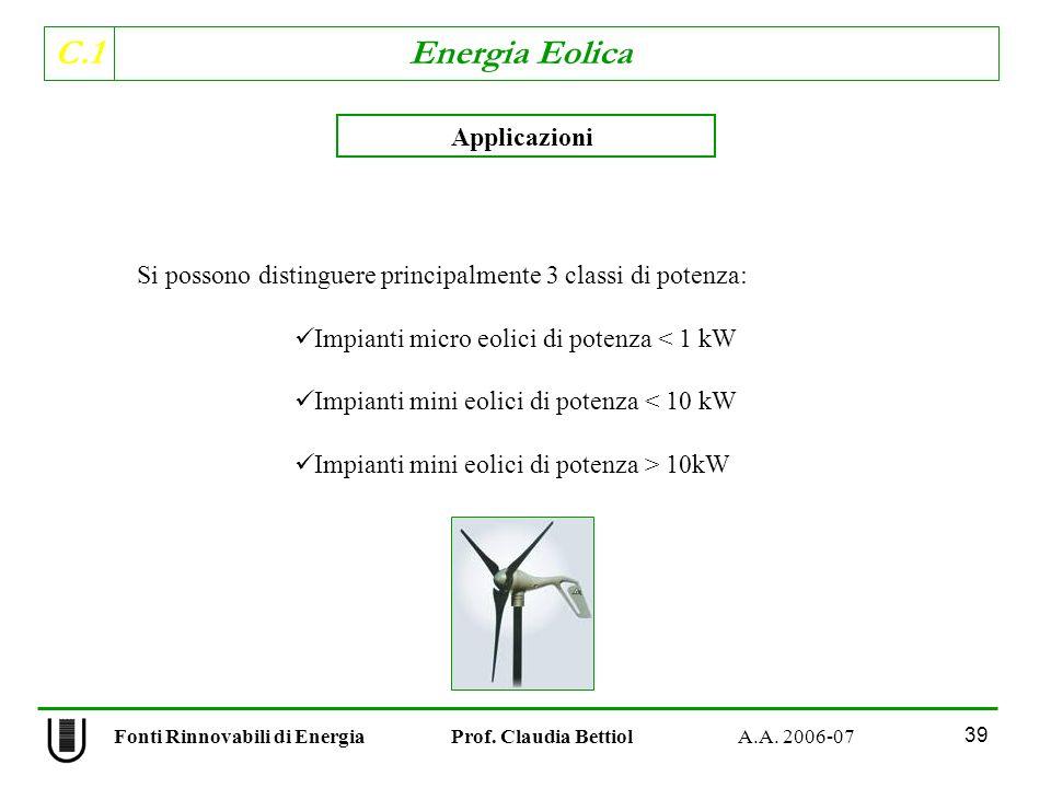 C.1 Energia Eolica 39 Fonti Rinnovabili di Energia Prof.