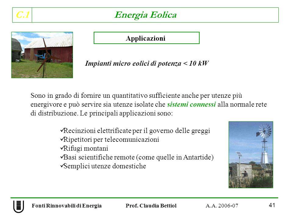 C.1 Energia Eolica 41 Fonti Rinnovabili di Energia Prof.