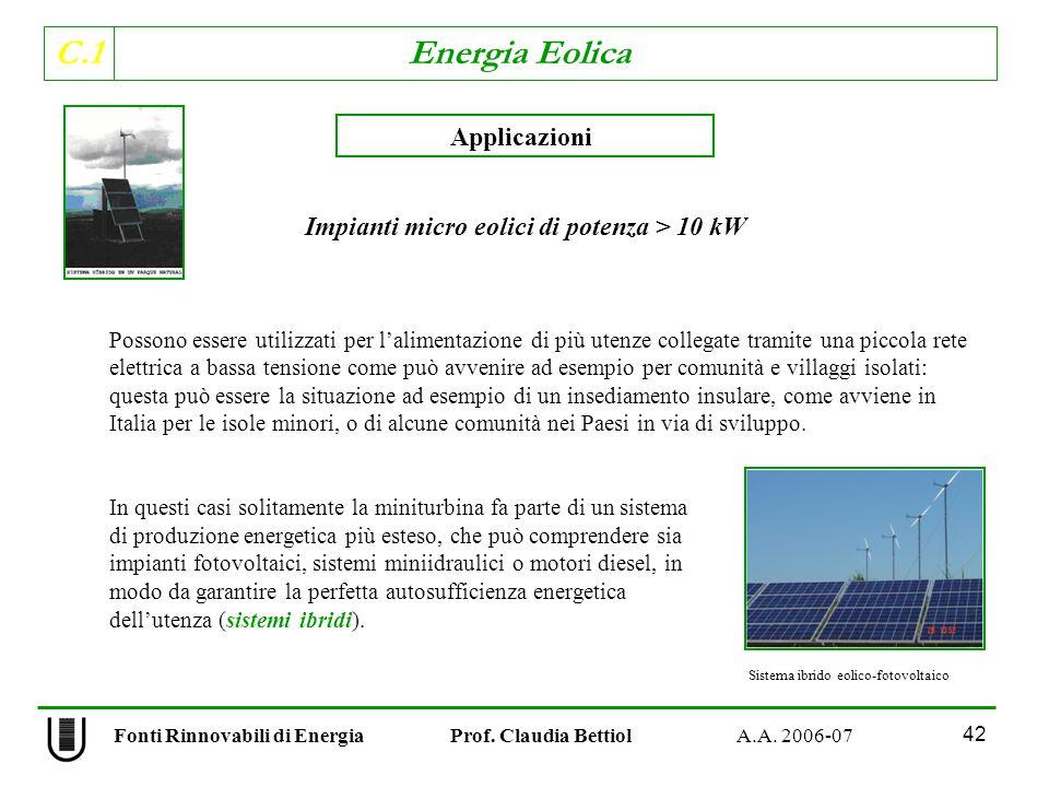 C.1 Energia Eolica 42 Fonti Rinnovabili di Energia Prof.