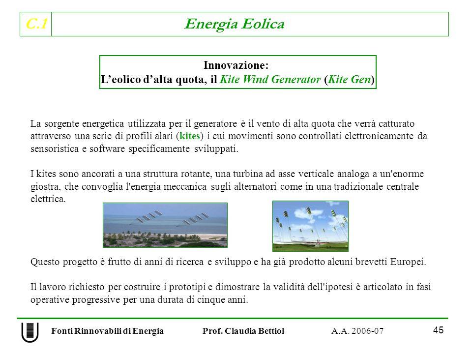 C.1 Energia Eolica 45 Fonti Rinnovabili di Energia Prof.