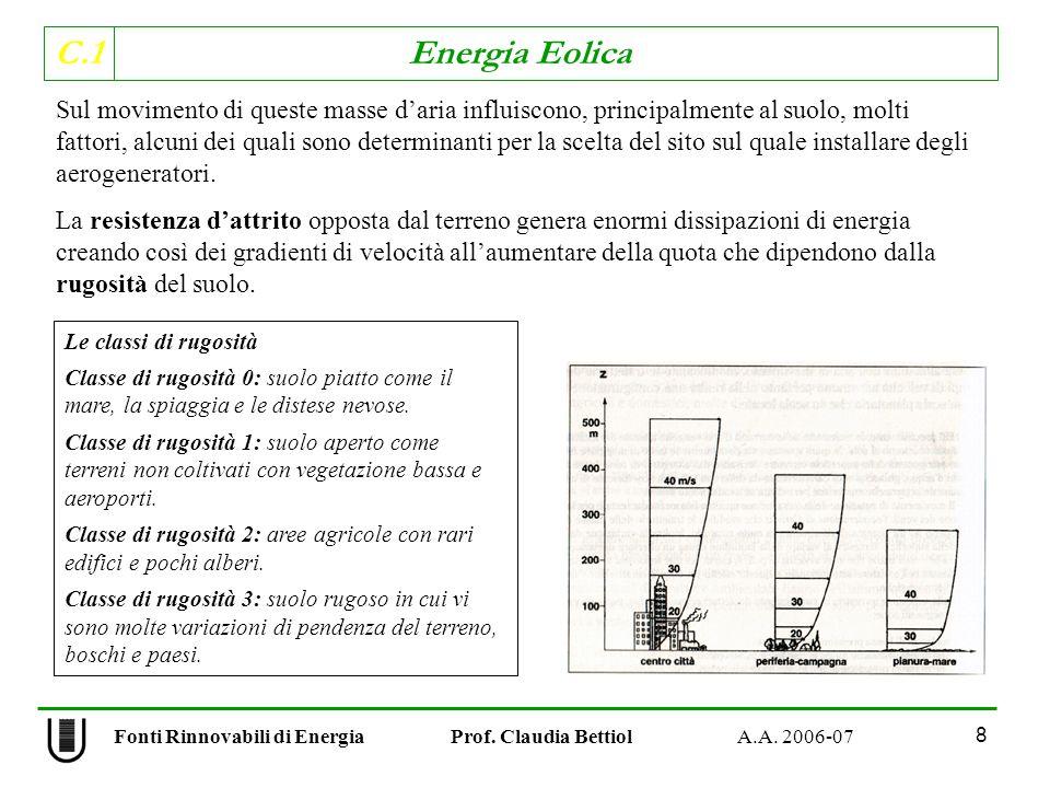 C.1 Energia Eolica 8 Sul movimento di queste masse daria influiscono, principalmente al suolo, molti fattori, alcuni dei quali sono determinanti per la scelta del sito sul quale installare degli aerogeneratori.