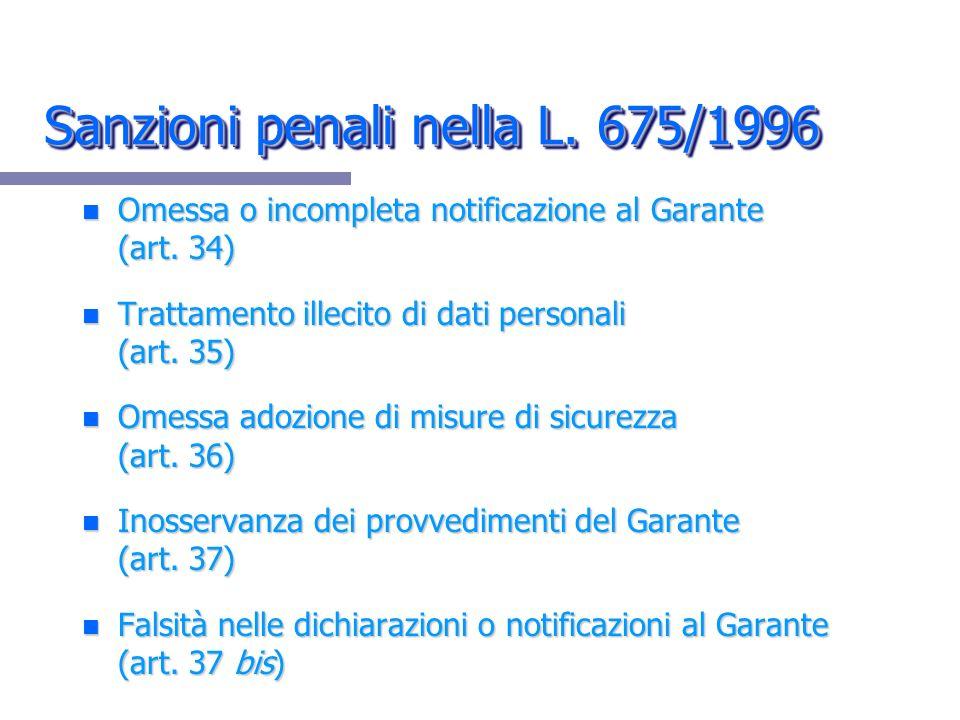 Sanzioni penali nella L. 675/1996 n Omessa o incompleta notificazione al Garante (art. 34) n Trattamento illecito di dati personali (art. 35) n Omessa