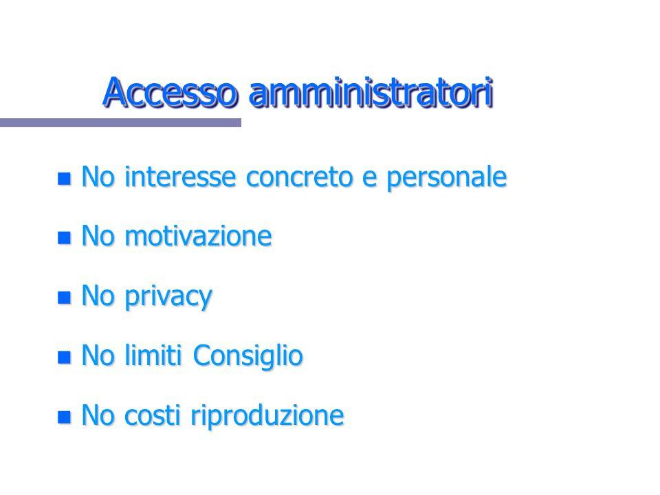 Accesso amministratori n No interesse concreto e personale n No motivazione n No privacy n No limiti Consiglio n No costi riproduzione