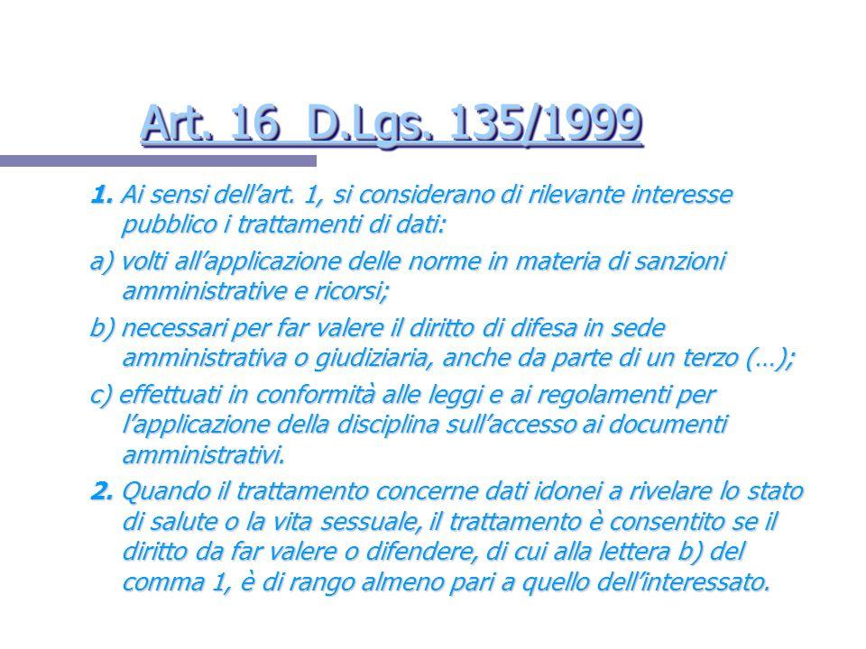 Art. 16 D.Lgs. 135/1999 Art. 16 D.Lgs. 135/1999 Art. 16 D.Lgs. 135/1999 Art. 16 D.Lgs. 135/1999 1. Ai sensi dellart. 1, si considerano di rilevante in