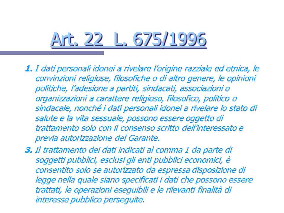 Art. 22 L. 675/1996 Art. 22 L. 675/1996 Art. 22 L. 675/1996 Art. 22 L. 675/1996 1. I dati personali idonei a rivelare lorigine razziale ed etnica, le