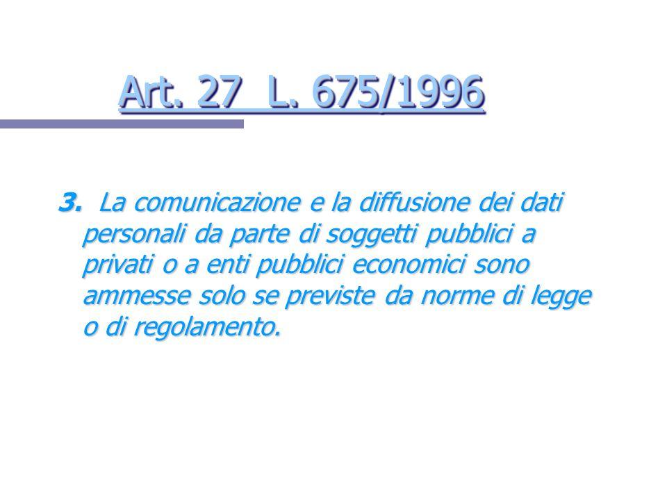 Art. 27 L. 675/1996 Art. 27 L. 675/1996 Art. 27 L. 675/1996 Art. 27 L. 675/1996 3. La comunicazione e la diffusione dei dati personali da parte di sog