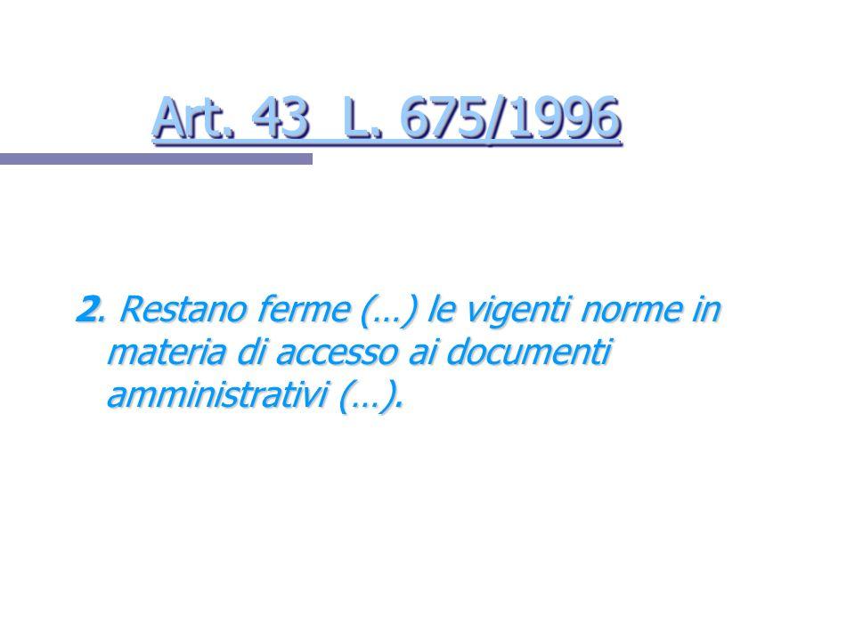 Art. 43 L. 675/1996 Art. 43 L. 675/1996 Art. 43 L. 675/1996 Art. 43 L. 675/1996 2. Restano ferme (…) le vigenti norme in materia di accesso ai documen