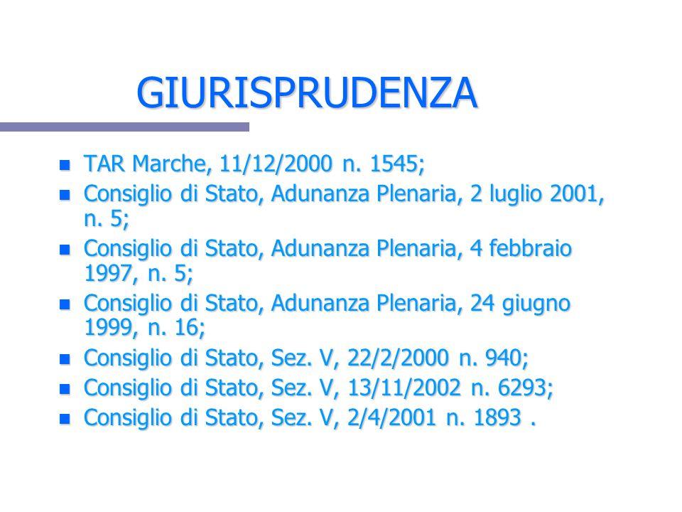 GIURISPRUDENZA n TAR Marche, 11/12/2000 n. 1545; n Consiglio di Stato, Adunanza Plenaria, 2 luglio 2001, n. 5; n Consiglio di Stato, Adunanza Plenaria