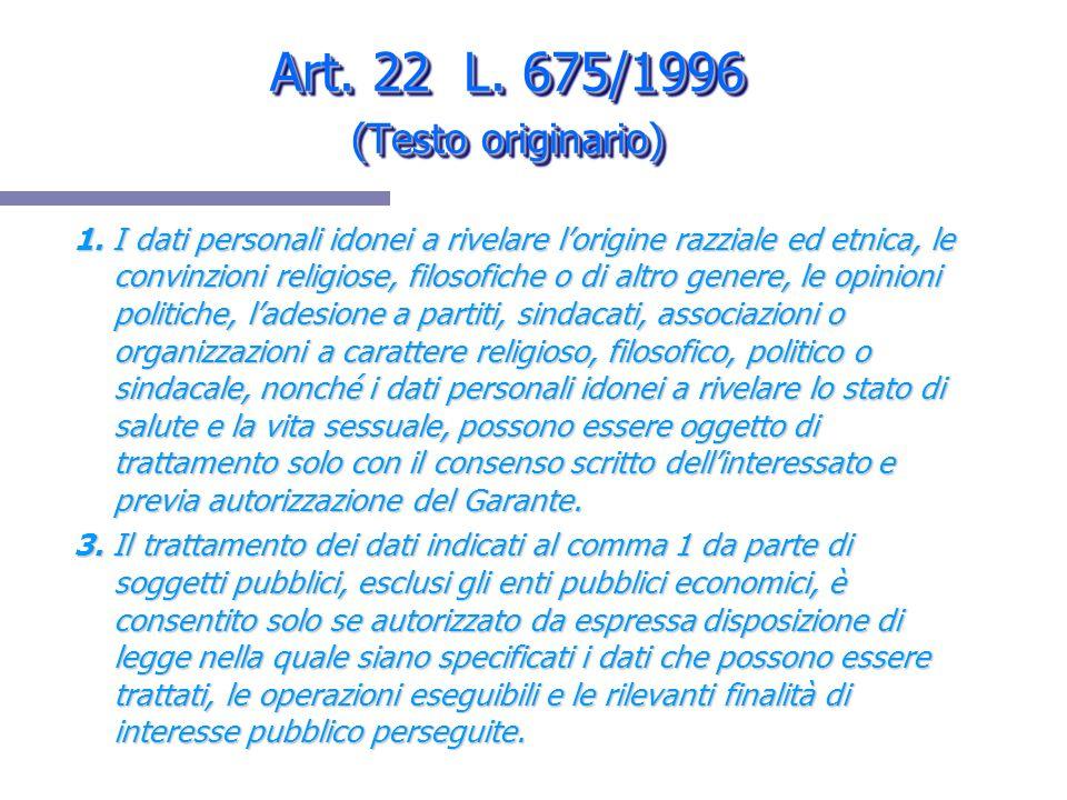 Art. 22 L. 675/1996 (Testo originario) 1. I dati personali idonei a rivelare lorigine razziale ed etnica, le convinzioni religiose, filosofiche o di a