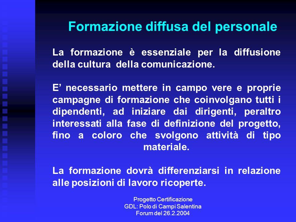 Progetto Certificazione GDL: Polo di Campi Salentina Forum del 26.2.2004 Formazione diffusa del personale La formazione è essenziale per la diffusione