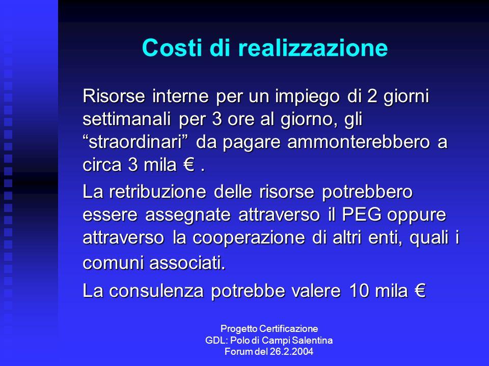 Progetto Certificazione GDL: Polo di Campi Salentina Forum del 26.2.2004 Costi di realizzazione Risorse interne per un impiego di 2 giorni settimanali per 3 ore al giorno, gli straordinari da pagare ammonterebbero a circa 3 mila.