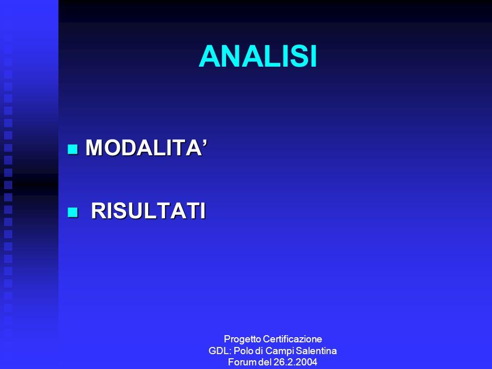 Progetto Certificazione GDL: Polo di Campi Salentina Forum del 26.2.2004 ANALISI MODALITA MODALITA RISULTATI RISULTATI