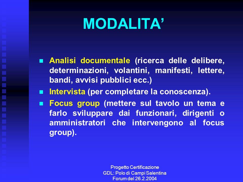Progetto Certificazione GDL: Polo di Campi Salentina Forum del 26.2.2004 MODALITA Analisi documentale (ricerca delle delibere, determinazioni, volanti