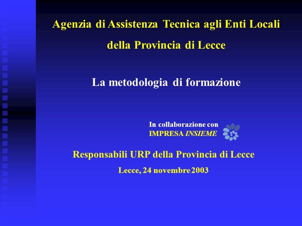 Responsabili URP della Provincia di Lecce Lecce, 24 novembre 2003 La metodologia di formazione In collaborazione con IMPRESA INSIEME Agenzia di Assistenza Tecnica agli Enti Locali della Provincia di Lecce
