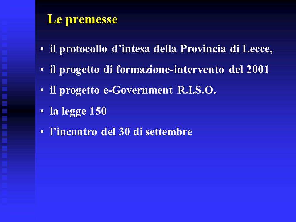 Le premesse il protocollo dintesa della Provincia di Lecce, il progetto di formazione-intervento del 2001 il progetto e-Government R.I.S.O. la legge 1