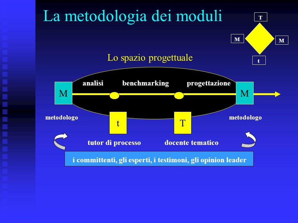 La metodologia dei moduli t T M M MM tT analisibenchmarkingprogettazione tutor di processodocente tematico metodologo Lo spazio progettuale i committenti, gli esperti, i testimoni, gli opinion leader
