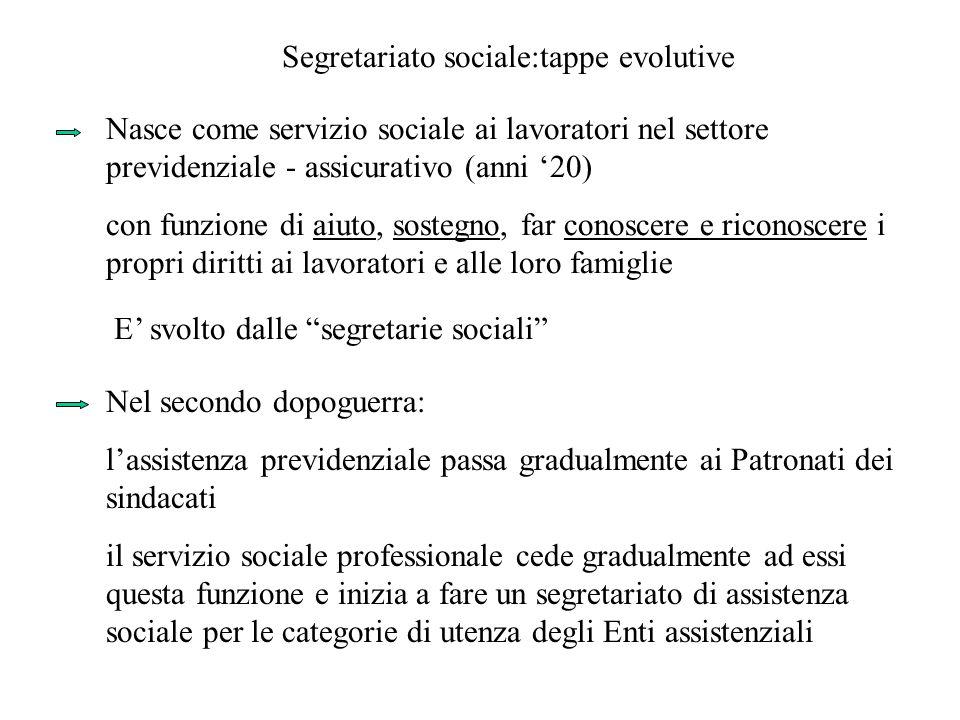 Segretariato sociale:tappe evolutive Nasce come servizio sociale ai lavoratori nel settore previdenziale - assicurativo (anni 20) con funzione di aiut