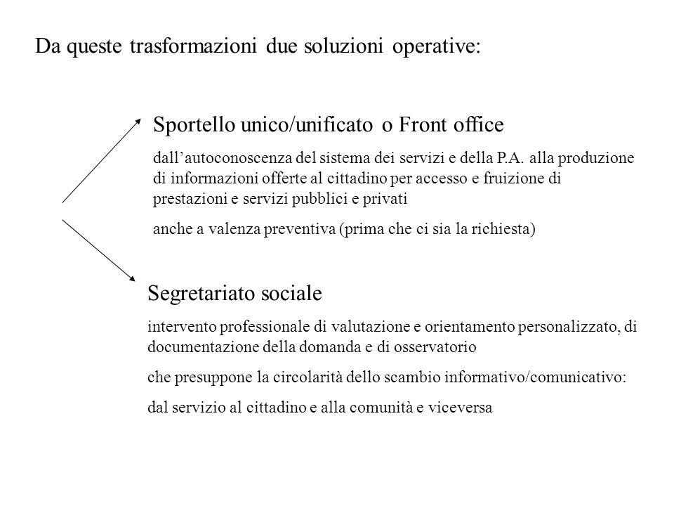 Da queste trasformazioni due soluzioni operative: Sportello unico/unificato o Front office dallautoconoscenza del sistema dei servizi e della P.A. all