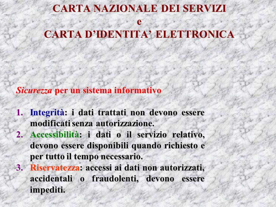 CARTA NAZIONALE DEI SERVIZI e CARTA DIDENTITA ELETTRONICA Sicurezza per un sistema informativo 1.Integrità: i dati trattati non devono essere modificati senza autorizzazione.