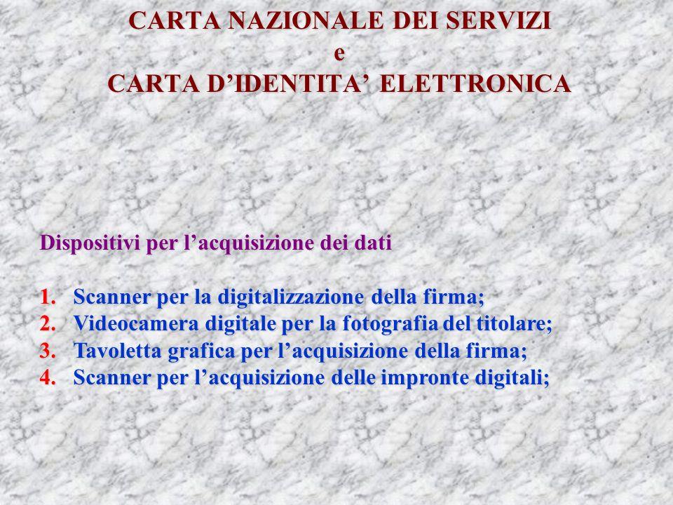 CARTA NAZIONALE DEI SERVIZI e CARTA DIDENTITA ELETTRONICA Dispositivi per lacquisizione dei dati 1.Scanner per la digitalizzazione della firma; 2.Videocamera digitale per la fotografia del titolare; 3.Tavoletta grafica per lacquisizione della firma; 4.Scanner per lacquisizione delle impronte digitali;