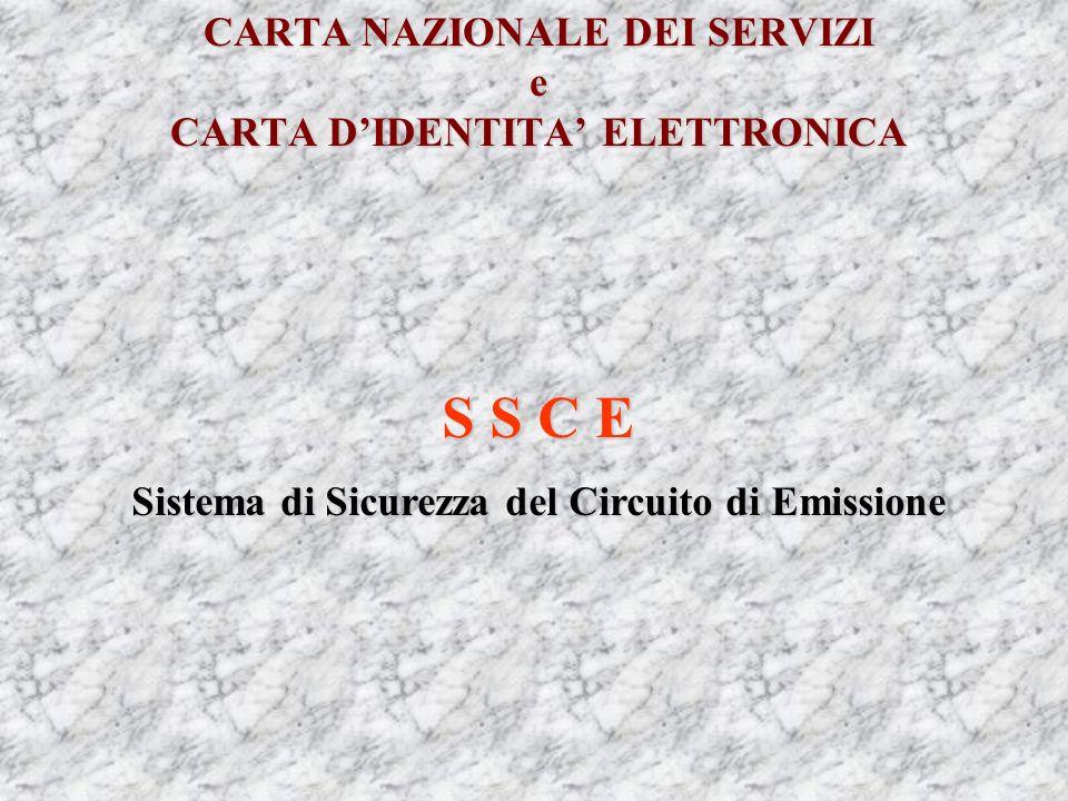 CARTA NAZIONALE DEI SERVIZI e CARTA DIDENTITA ELETTRONICA S S C E Sistema di Sicurezza del Circuito di Emissione