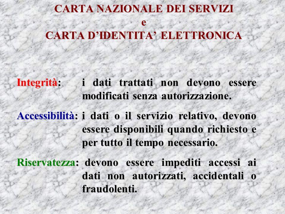 CARTA NAZIONALE DEI SERVIZI e CARTA DIDENTITA ELETTRONICA Integrità:i dati trattati non devono essere modificati senza autorizzazione.