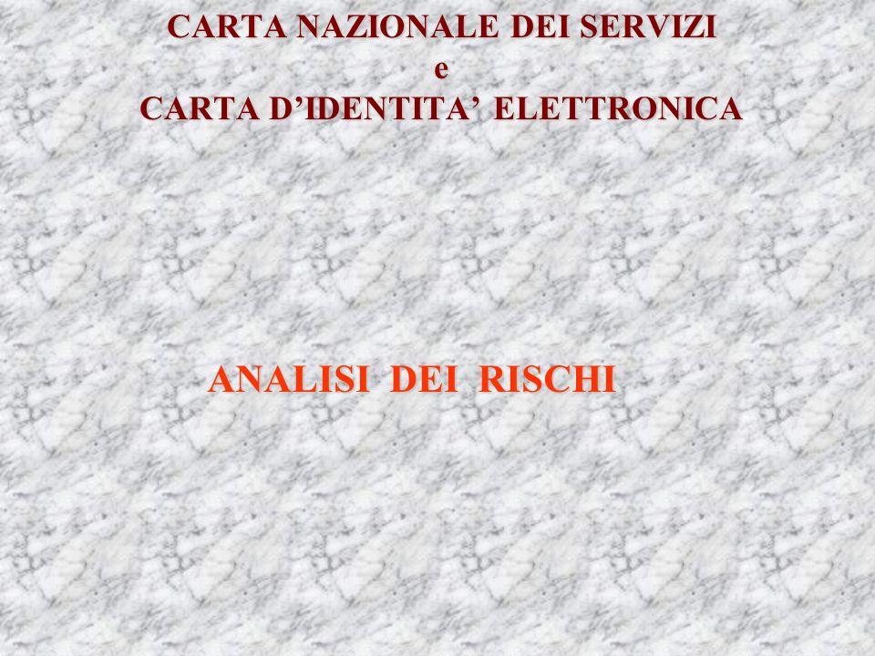 CARTA NAZIONALE DEI SERVIZI e CARTA DIDENTITA ELETTRONICA ANALISI DEI RISCHI