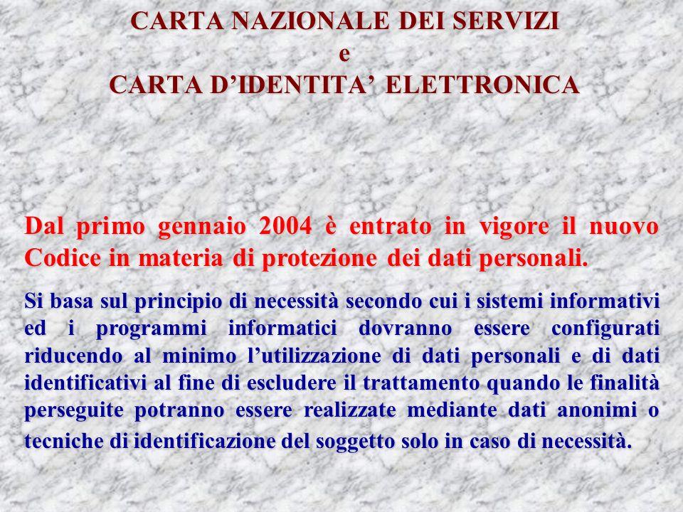 CARTA NAZIONALE DEI SERVIZI e CARTA DIDENTITA ELETTRONICA Dal primo gennaio 2004 è entrato in vigore il nuovo Codice in materia di protezione dei dati personali.