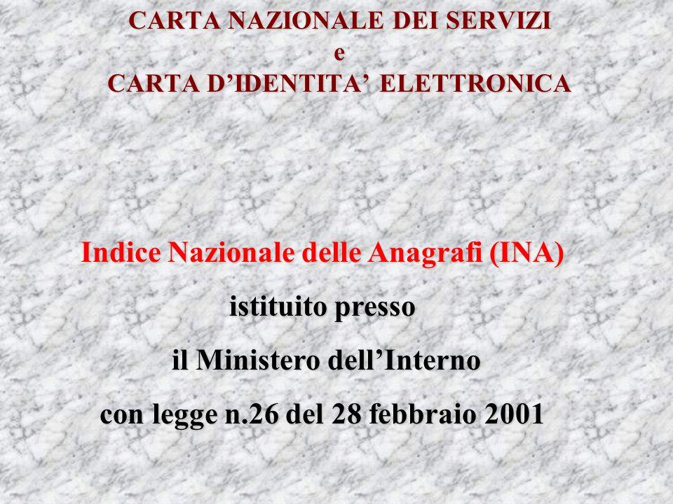 CARTA NAZIONALE DEI SERVIZI e CARTA DIDENTITA ELETTRONICA Indice Nazionale delle Anagrafi (INA) istituito presso il Ministero dellInterno il Ministero dellInterno con legge n.26 del 28 febbraio 2001