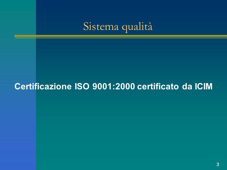 3 Sistema qualità Certificazione ISO 9001:2000 certificato da ICIM