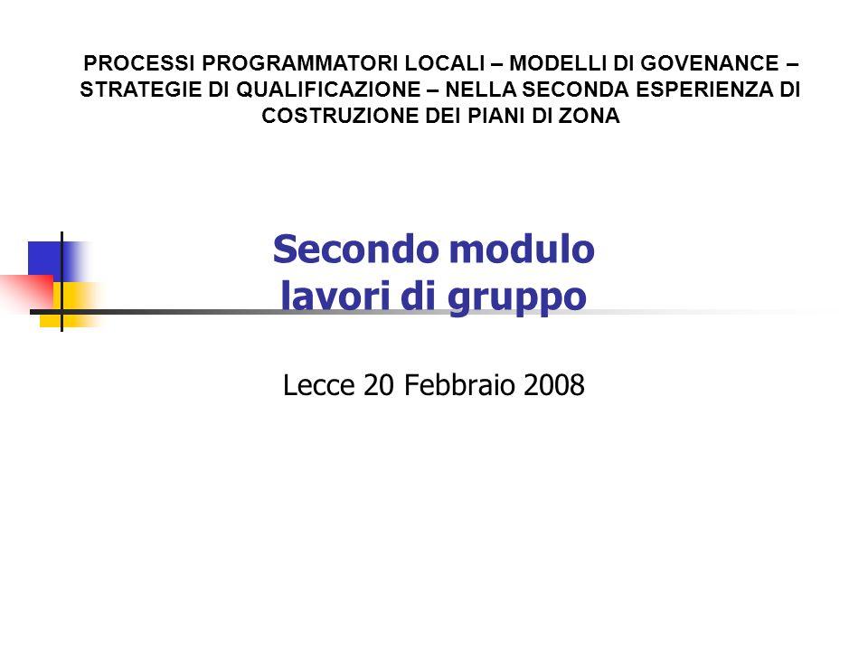 Secondo modulo lavori di gruppo Lecce 20 Febbraio 2008 PROCESSI PROGRAMMATORI LOCALI – MODELLI DI GOVENANCE – STRATEGIE DI QUALIFICAZIONE – NELLA SECONDA ESPERIENZA DI COSTRUZIONE DEI PIANI DI ZONA