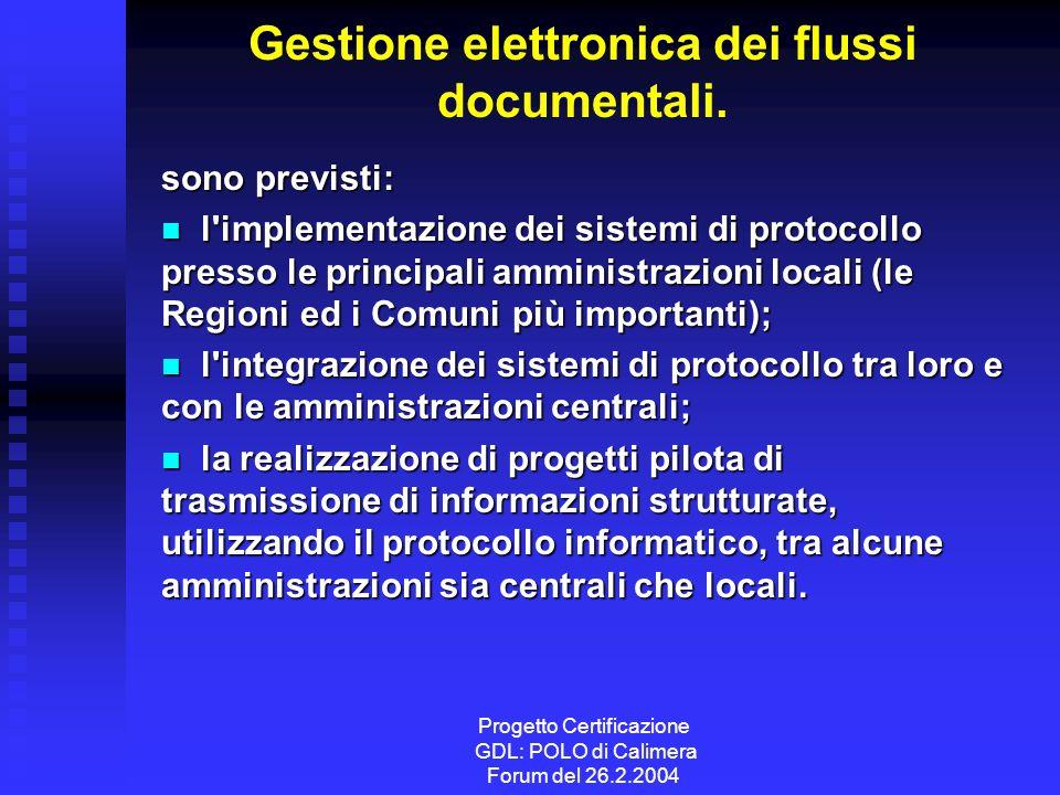Progetto Certificazione GDL: POLO di Calimera Forum del 26.2.2004 Gestione elettronica dei flussi documentali.