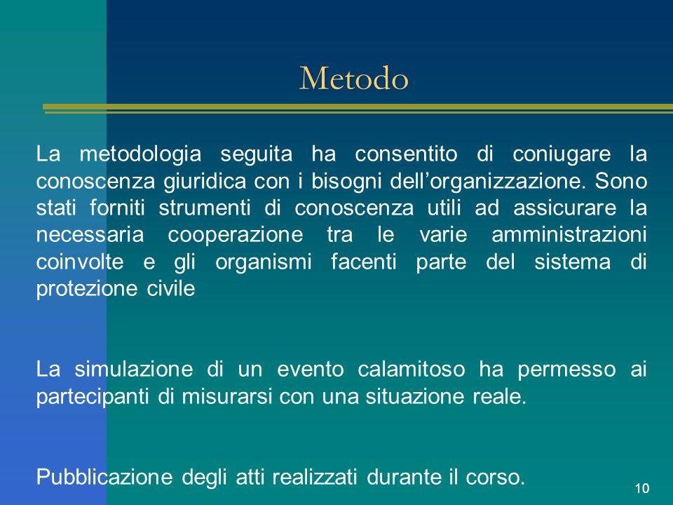 10 Metodo La metodologia seguita ha consentito di coniugare la conoscenza giuridica con i bisogni dellorganizzazione. Sono stati forniti strumenti di
