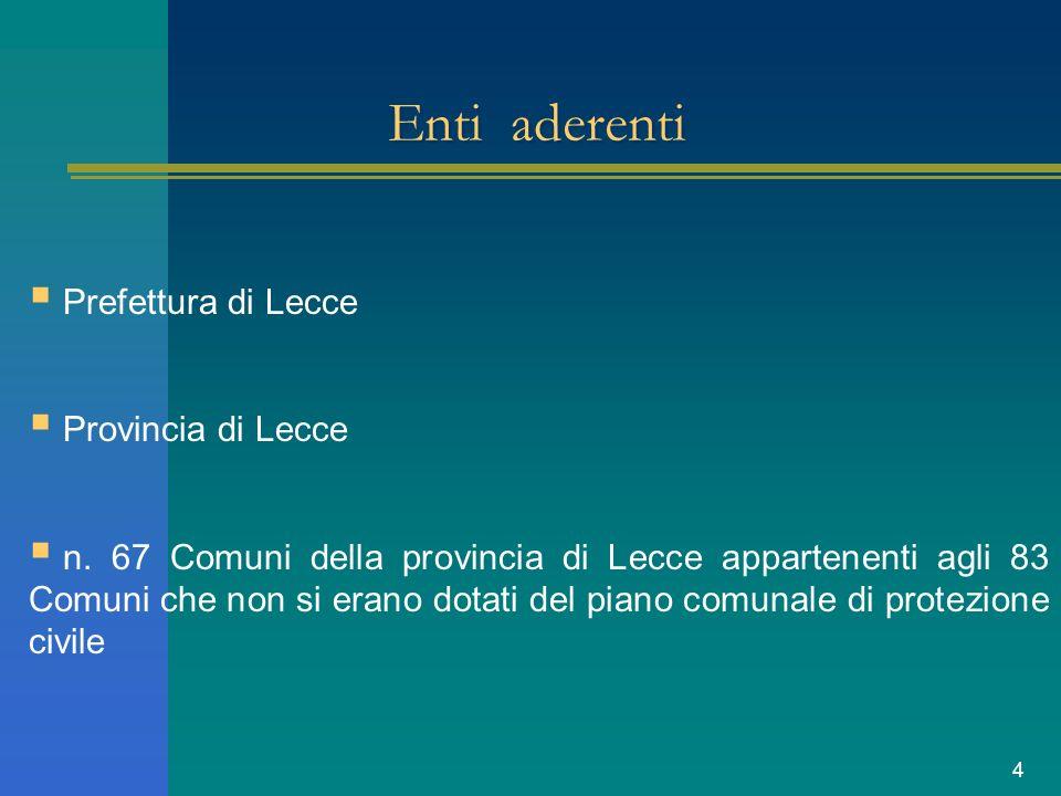 4 Enti aderenti Prefettura di Lecce Provincia di Lecce n. 67 Comuni della provincia di Lecce appartenenti agli 83 Comuni che non si erano dotati del p