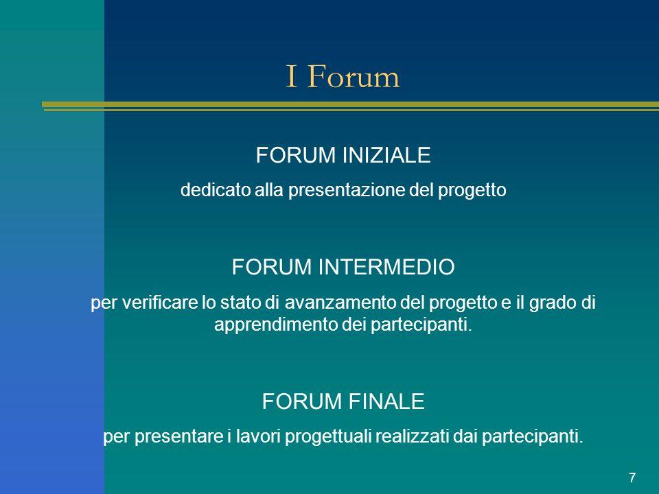 7 I Forum FORUM INIZIALE dedicato alla presentazione del progetto FORUM INTERMEDIO per verificare lo stato di avanzamento del progetto e il grado di apprendimento dei partecipanti.