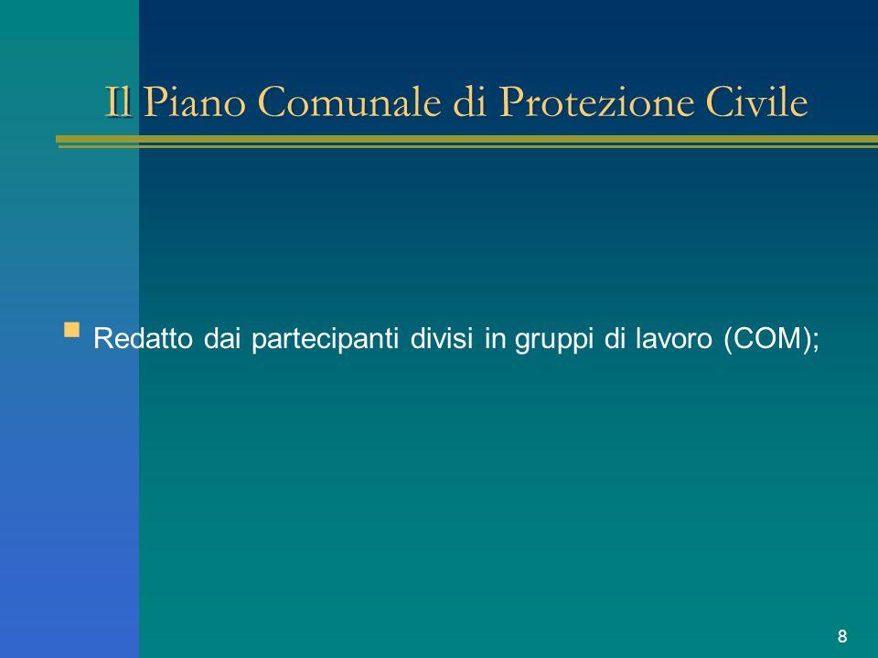8 Il Piano Comunale di Protezione Civile Redatto dai partecipanti divisi in gruppi di lavoro (COM);