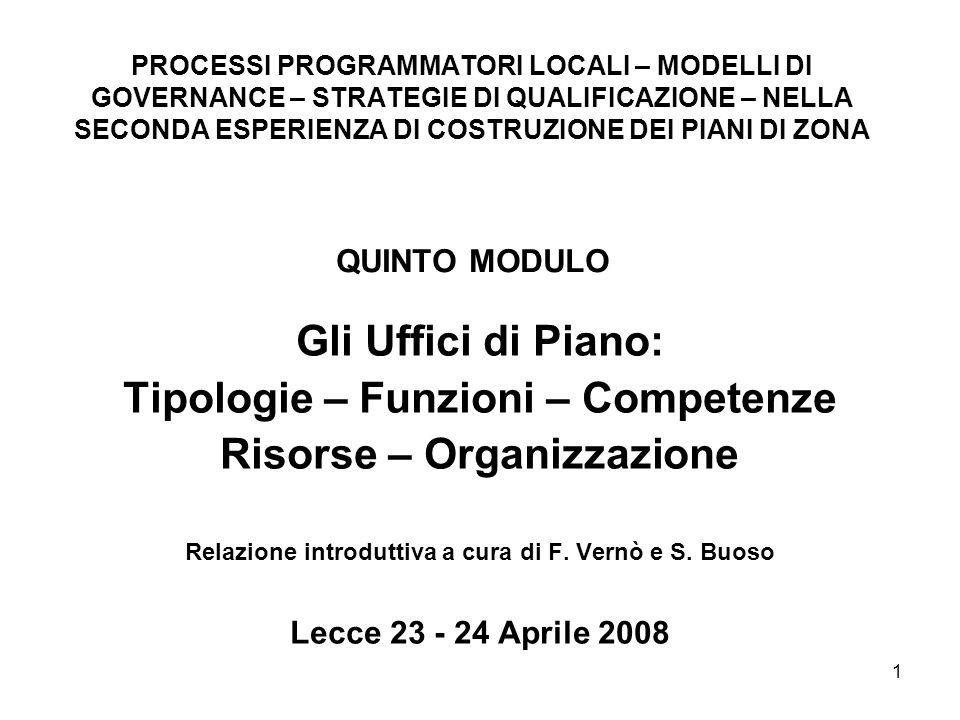 1 Gli Uffici di Piano: Tipologie – Funzioni – Competenze Risorse – Organizzazione Relazione introduttiva a cura di F.
