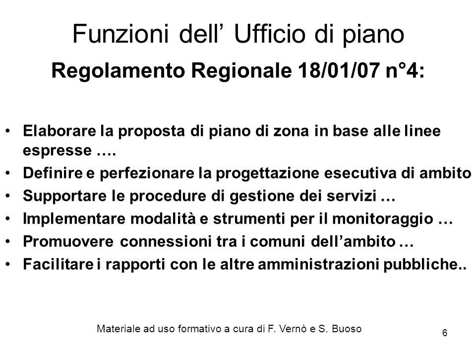 6 Regolamento Regionale 18/01/07 n°4: Elaborare la proposta di piano di zona in base alle linee espresse ….