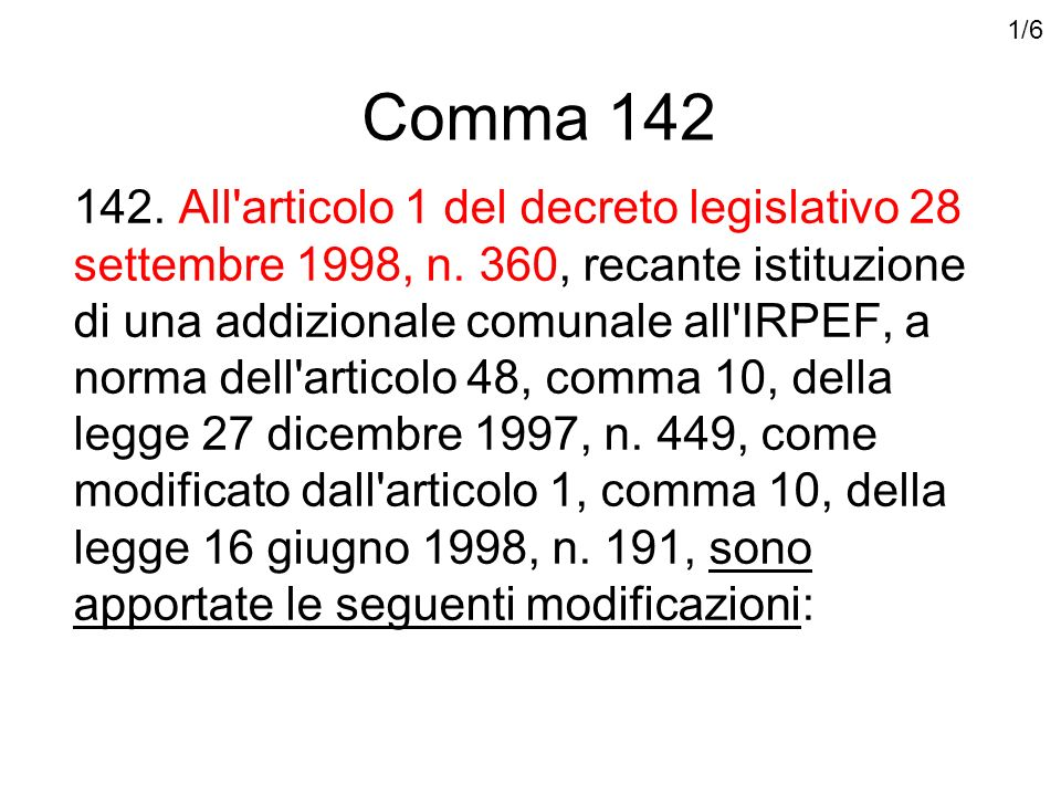 Comma 142 142. All articolo 1 del decreto legislativo 28 settembre 1998, n.