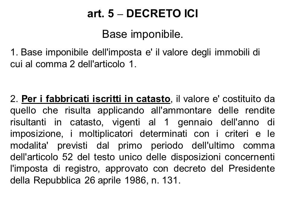 art. 5 – DECRETO ICI Base imponibile. 1. Base imponibile dell'imposta e' il valore degli immobili di cui al comma 2 dell'articolo 1. 2. Per i fabbrica