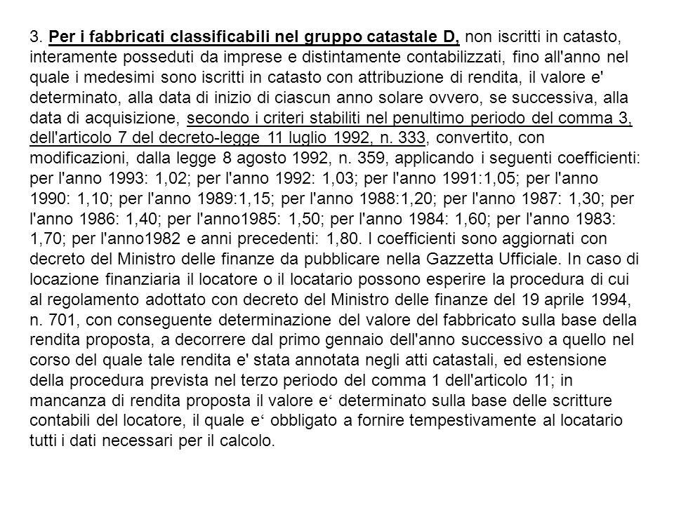 3. Per i fabbricati classificabili nel gruppo catastale D, non iscritti in catasto, interamente posseduti da imprese e distintamente contabilizzati, f