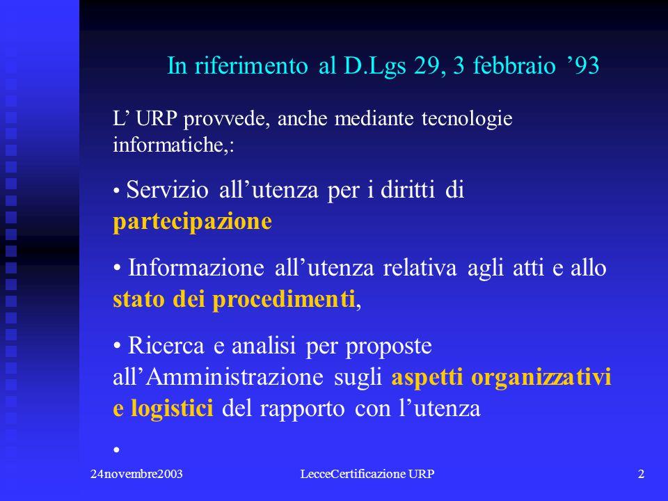 24novembre2003LecceCertificazione URP12 Il regolamento (criteri) 1.