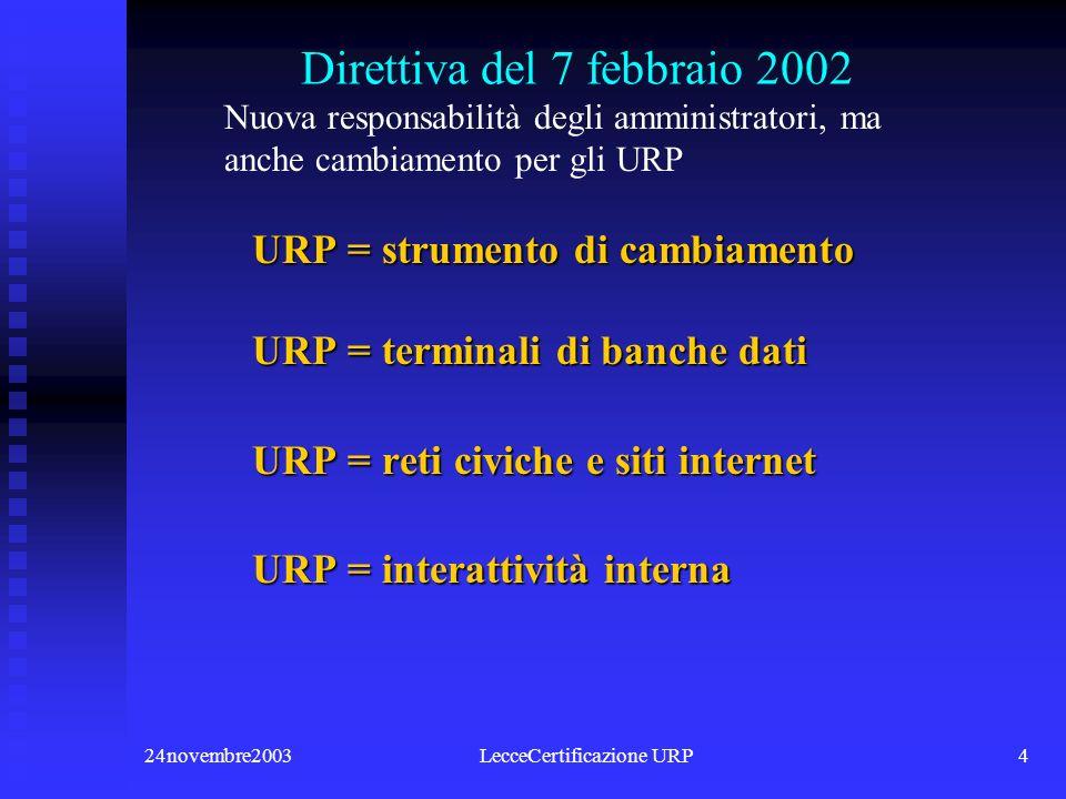 24novembre2003LecceCertificazione URP4 Direttiva del 7 febbraio 2002 URP = strumento di cambiamento URP = strumento di cambiamento URP = terminali di banche dati URP = terminali di banche dati URP = reti civiche e siti internet URP = reti civiche e siti internet URP = interattività interna URP = interattività interna Nuova responsabilità degli amministratori, ma anche cambiamento per gli URP
