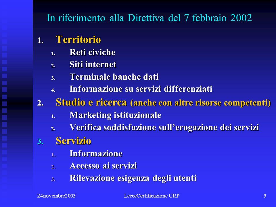 24novembre2003LecceCertificazione URP5 In riferimento alla Direttiva del 7 febbraio 2002 1.