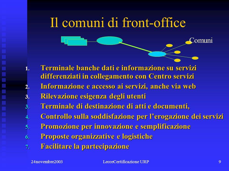 24novembre2003LecceCertificazione URP9 Comuni Il comuni di front-office 1.