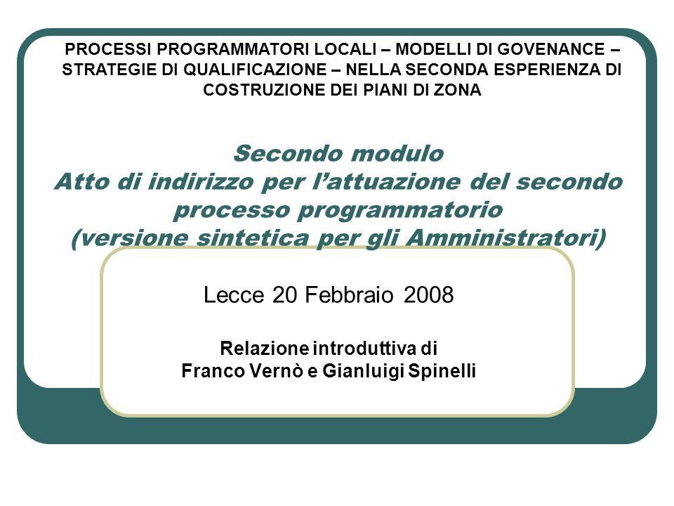 Secondo modulo Atto di indirizzo per lattuazione del secondo processo programmatorio (versione sintetica per gli Amministratori) Lecce 20 Febbraio 200