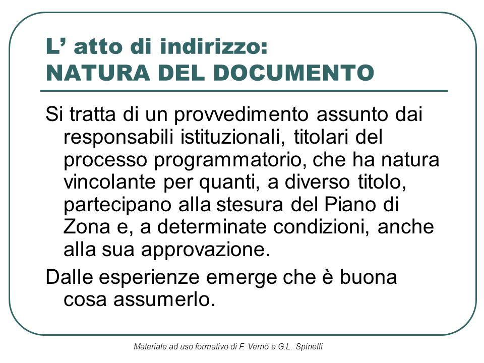 Materiale ad uso formativo di F. Vernò e G.L. Spinelli L atto di indirizzo: NATURA DEL DOCUMENTO Si tratta di un provvedimento assunto dai responsabil