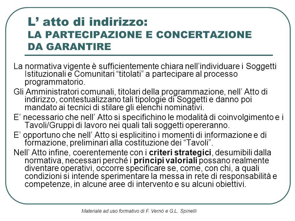 Materiale ad uso formativo di F. Vernò e G.L. Spinelli L atto di indirizzo: LA PARTECIPAZIONE E CONCERTAZIONE DA GARANTIRE La normativa vigente è suff